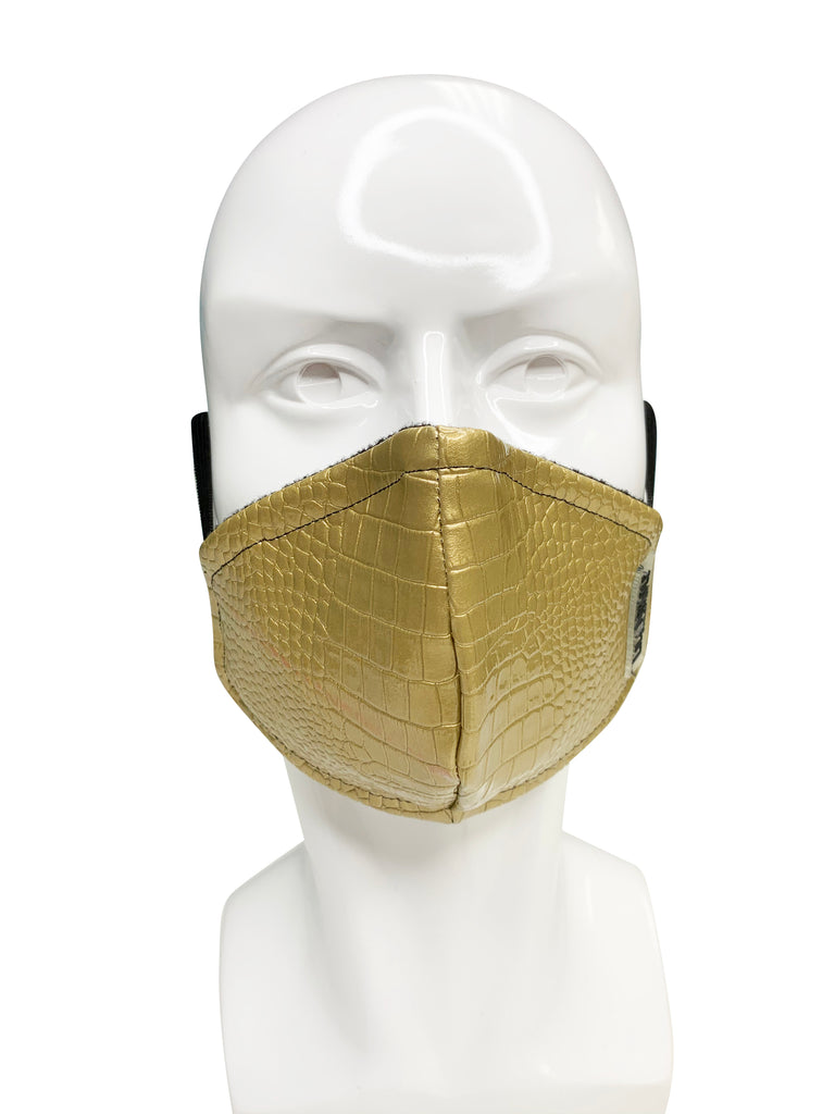 Gold Leather  Face Mask
