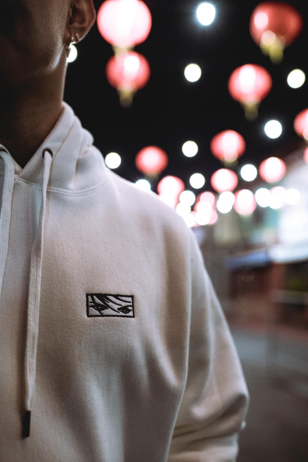 Embroidered Eyes Hoodie - Bone White