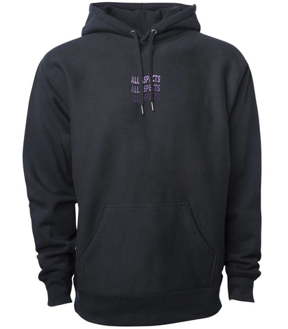 Embroidered Wavy Script Hoodie - Black