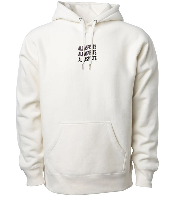 Embroidered Wavy Script Hoodie - Bone White