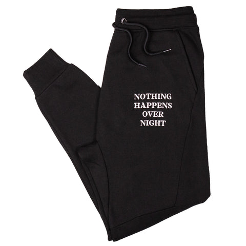Embroidered NHON Joggers - Black