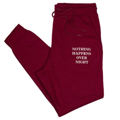 Embroidered NHON Joggers - Burgundy
