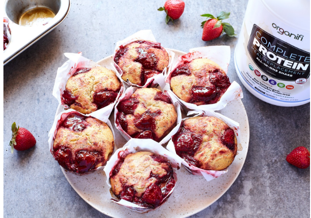 Gluten-Free Strawberry And Lemon Poppy Seed Protein Muffins