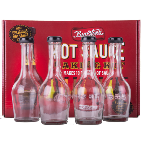 Bunsters Hot Sauce Making Kit + 4 Empty Glass Bottles (Great gift idea!)