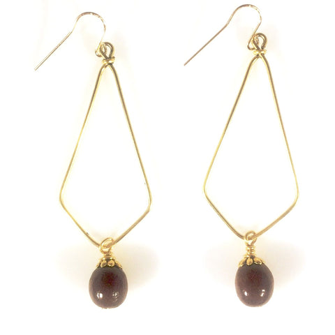 Big Island Koa Elongated Diamond Earrings