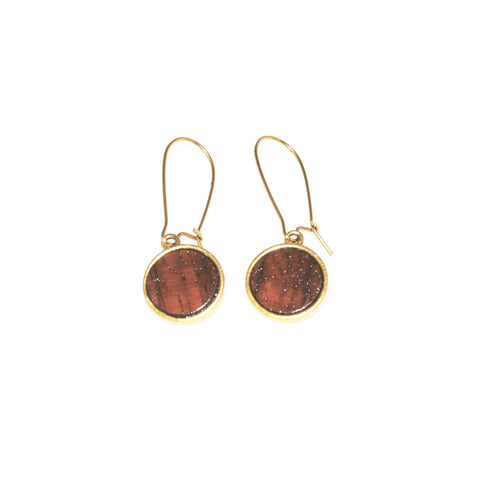 Big Island Koa Mini Circle Earrings
