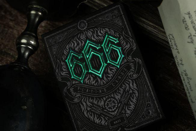 666 Emerald Hellfire Playing Cards Green by Riffle Shuffle Playing Cards by RarePlayingCards.com