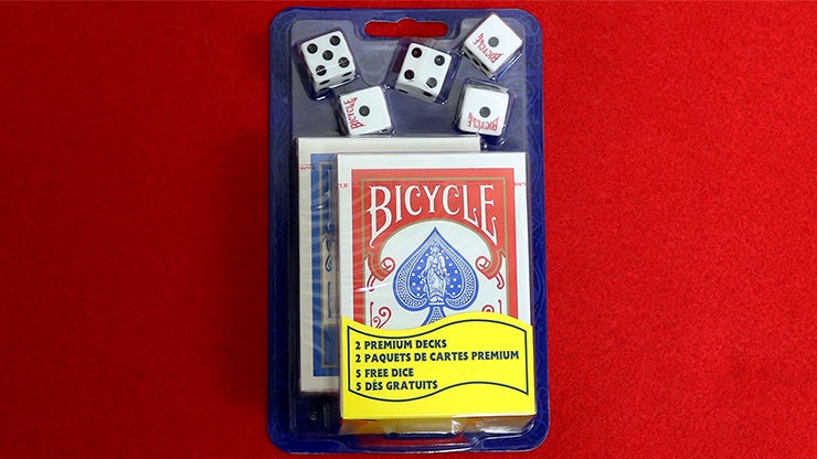 Bicycle 2 Decks Standard Poker and 5 Dice Set Playing Cards by US Playing Card Co.