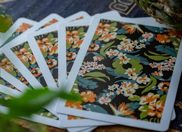 Black Flora Playing Cards Playing Cards by RarePlayingCards.com