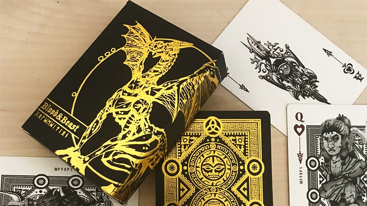 Blood and Beast (Gold-Gilded) Playing Cards Playing Cards by RarePlayingCards.com