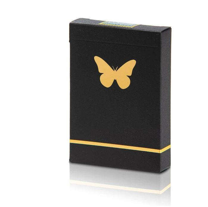 Unmarked Butterfly Playing Cards BLACK & GOLD Playing Cards by RarePlayingCards.com