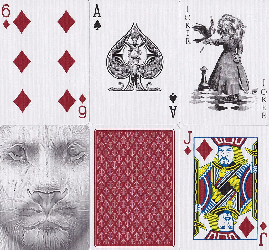 Black Lions Red Edition Playing Cards - RarePlayingCards.com - 9