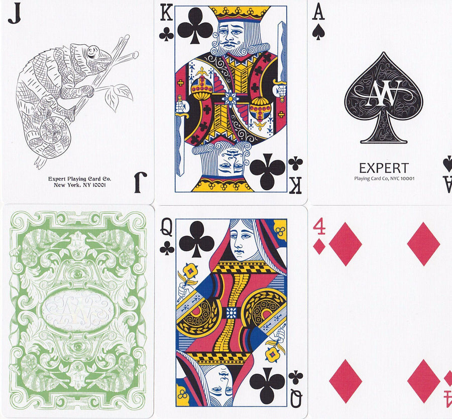 Chameleons Luxury Green Metallic Playing Cards by Expert Playing Card Co.