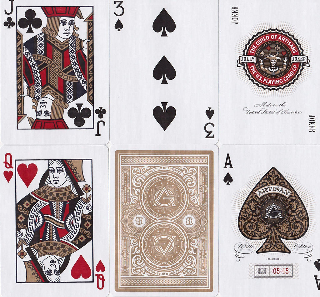 White Artisans Playing Cards - RarePlayingCards.com - 10
