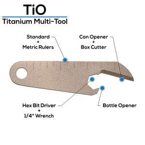 Titanium multitool bottle opener measuring scale Ti 6-4 Grade 5 can opener box cutter car fob keychain pocket tool edc