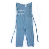 Ruffle Linen Romper with Pants - Light Pink, Medium Blue, Navy