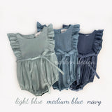 Medium Blue Ruffle Linen Romper