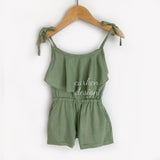 NEW Tie Linen Rompers - Green, Medium Blue