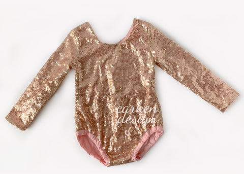 Rose Gold Long Sleeve Sequin Leotard Romper
