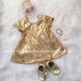 Sequin Flower Girl Dress with Short Sleeves - Gold, Blush
