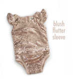 Sequin Leotard Romper with Flutter Sleeves - Blush, Gold, Lavender, Iridescent, Silver