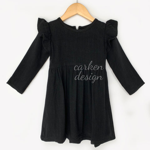 Black Long Sleeve  Linen Dress