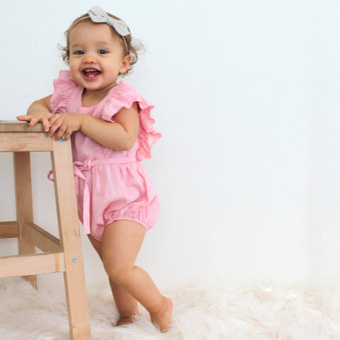 Light Pink Ruffle Linen Romper