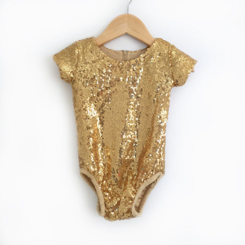 Gold Sequin Leotard - Short Sleeves