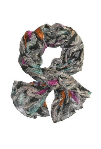 <b>FEATHERS SCARF</b> : Black Multi Color