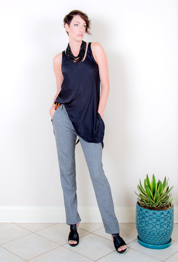 <b>I MEAN BUSINESS PANT</b> : Textured Grey - EvieBoheme - 1
