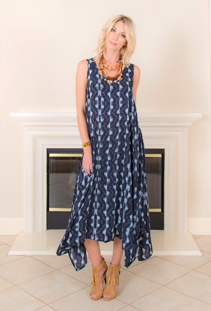 <b>HANDKERCHIEF DRESS</b> : Indigo Print - EvieBoheme - 1