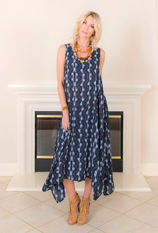 <b>HANDKERCHIEF DRESS</b> : Indigo Print