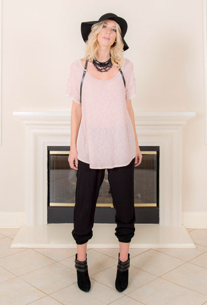 <b>SEAM BACK SHORT SLEEVE TEE </b> : Dusty Pink - EvieBoheme - 1