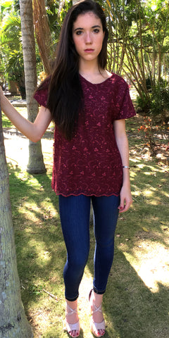 Dream All My Own Burgundy Top - US S - Limited
