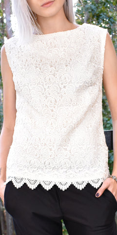 Divine Sea White Lace Top - US S - Limited