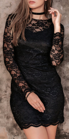 Hallowed Beauty Black Lace Dress - Limited