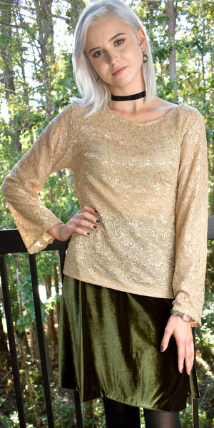 Beauty Must Be Truth Beige Lace Top