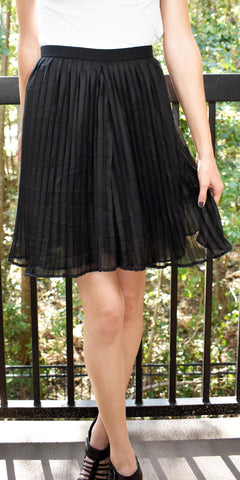 Midnight Beauty Black Pleated Skirt