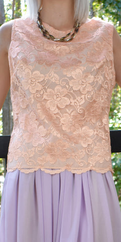 Sweeter Melody Peach Lace Top - Limited