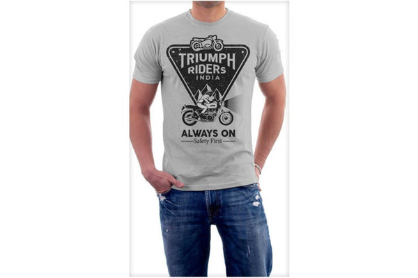 Triumph Riders India T-Shirts printed (Grey).