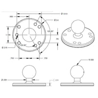 "RAM Base 2.5"" Round Plate with Ball - Motousher"
