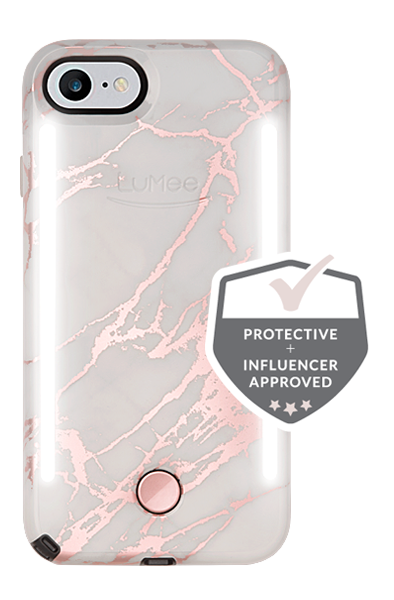 LuMee Duo Light Up iPhone 8/7/6s/6 phone case [Rose Metallic White Marble]