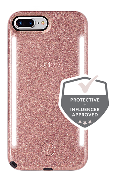 LuMee Duo iPhone 8+ Case [Rose Glitter]