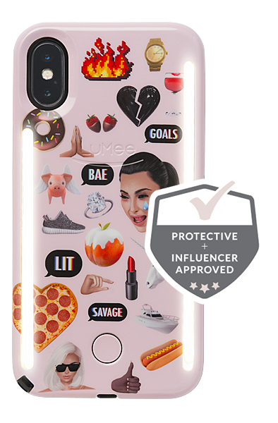 LuMee Duo Kimoji Pink Collage Case [iPhone x]