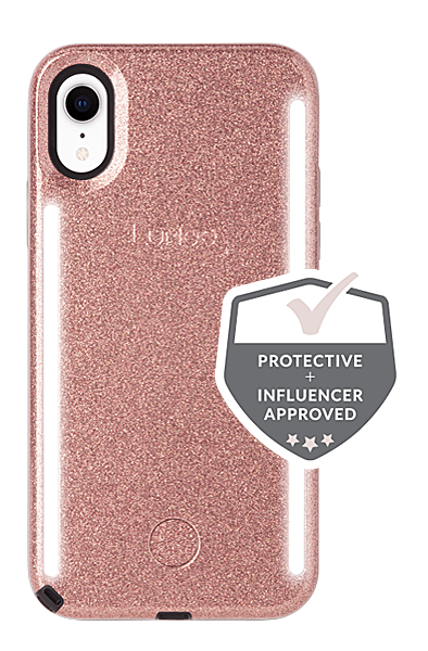 LuMee Duo iPhone XR Case [Rose Glitter]