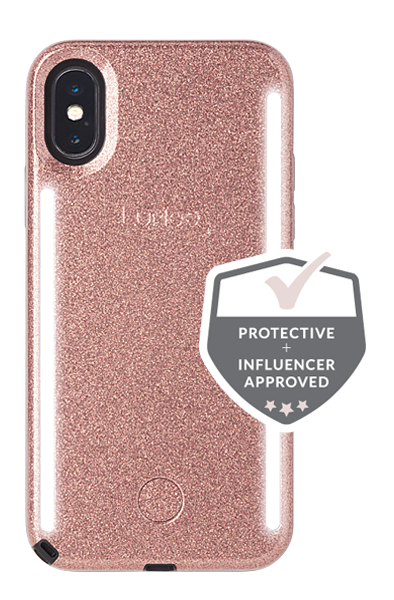 LuMee Duo iPhone X/XS Case [Rose Glitter]
