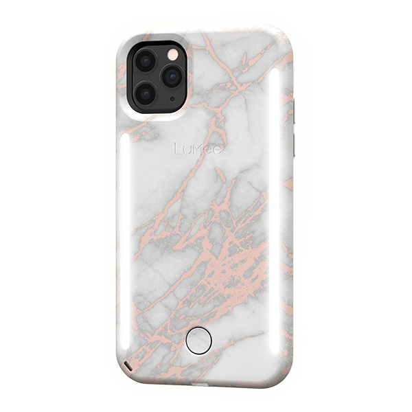 Light Up White Metallic Marble Iphone 11 Pro Max Case Lumee