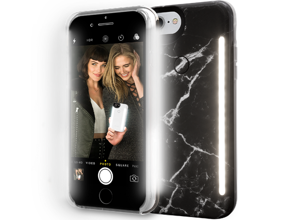 Black Marble LuMee Duo Light Up iPhone 8, iPhone 7, 6s, 6 phone case [Black Marble]