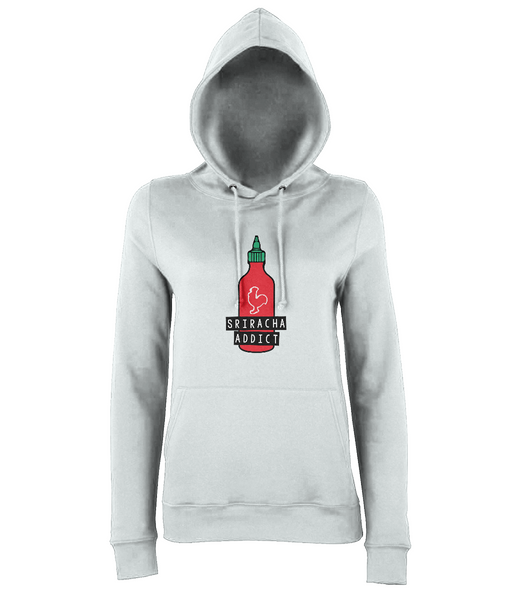 Girl's Comfy College Hoody - Pocket Sriracha : Mini Hot Sauce Keychain Bottle UK - 1