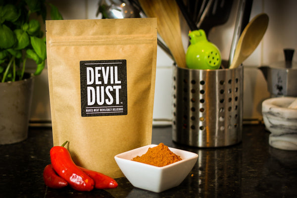 "Devil Dust - Extra Spicy Seasoning & BBQ Rub - ""Makes Meat Devilishly Delicious"" - Large Pack (225g)"
